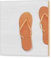 Where On Earth Is Spring - My Orange Flip Flops Are Waiting Wood Print by Andee Design