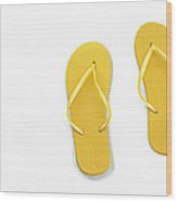 Where On Earth Is Spring - My Yellow Flip Flops Are Waiting Wood Print by Andee Design
