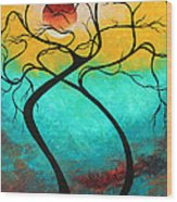 Whimsical Abstract Tree Landscape With Moon Twisting Love IIi By Megan Duncanson Wood Print by Megan Duncanson