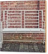 White Bench Wood Print by Tom Gowanlock