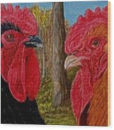 Who You Calling Chicken Wood Print by Karen Ilari