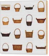 Wicker Basket Collection Wood Print by Olivier Le Queinec