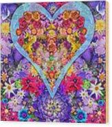 Wild Flower Heart Wood Print by Alixandra Mullins