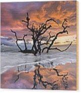 Wildfire Wood Print by Debra and Dave Vanderlaan