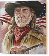 Willie Nelson American Legend Wood Print by Andrew Read