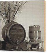 Wine Barrels Wood Print by Alanna DPhoto