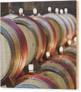 Wine Barrels Wood Print by Francesco Emanuele Carucci