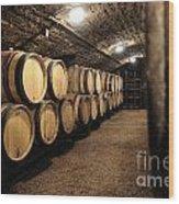 Wine Barrels In A Cellar. Cote D'or. Burgundy. France. Europe Wood Print by Bernard Jaubert