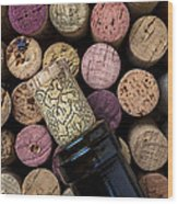 Wine Bottle With Corks Wood Print by Garry Gay