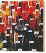 Wine Bottles In Cases Painting Wood Print by Magomed Magomedagaev