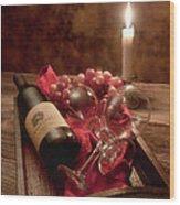 Wine By Candle Light I Wood Print by Tom Mc Nemar