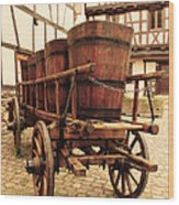 Wine Cart In Alsace France Wood Print by Greg Matchick