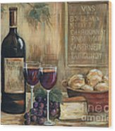 Wine For Two Wood Print by Marilyn Dunlap