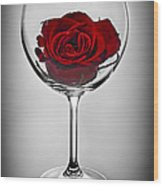 Wine Glass With Rose Wood Print by Elena Elisseeva