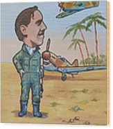 Wing Cdr.clive Caldwell Wood Print by Murray McLeod