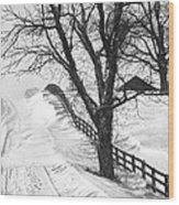 Winter Driveway Wood Print by Wendell Thompson