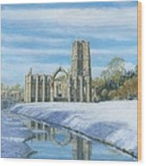 Winter Morning Fountains Abbey Yorkshire Wood Print by Richard Harpum