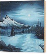 Winter Painting A La Bob Ross Wood Print by Bruno Santoro