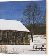 Winter Scenic Farm Wood Print by Christina Rollo