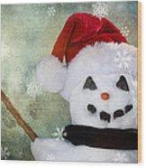 Winter Snowman Wood Print by Cindy Singleton