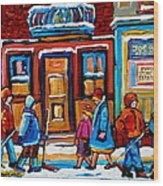 Winter Street In Saint Henri Wood Print by Carole Spandau