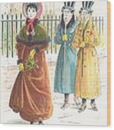 Woman Carrying Bunch Of Mistletoe Wood Print by English School