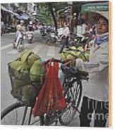 Woman Carrying Fruit On Bike Wood Print by Sami Sarkis