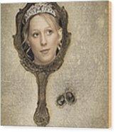 Woman In Mirror Wood Print by Amanda Elwell