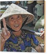 Woman Portrait At Market In Hue Wood Print by Sami Sarkis