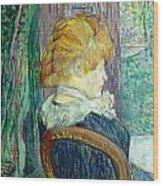 Woman Sitting In A Garden Wood Print by Henri de Toulouse-lautrec