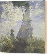 Woman With A Parasol Wood Print by Claude Monet