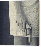 Woman With Revolver 60 X 45 Custom Wood Print by Edward Fielding