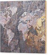 World Map On Stone Background Wood Print by Michael Tompsett