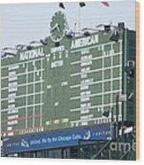 Wrigley Field Scoreboard Sign Wood Print by Paul Velgos