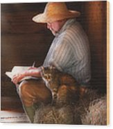 Writer - Writing In My Journal Wood Print by Mike Savad