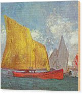 Yachts In A Bay Wood Print by Odilon Redon
