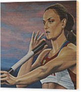 Yelena Isinbayeva   Wood Print by Paul Meijering