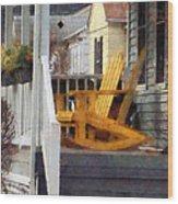 Yellow Adirondack Rocking Chairs Wood Print by Susan Savad