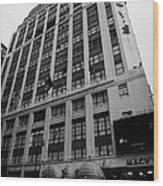 Yellow Cabs Outside Macys Department Store 7th Avenue And 34th Street Entrance New York Wood Print by Joe Fox