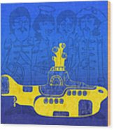 Yellow Submarine Wood Print by Andee Design