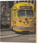 Yellow Vintage Streetcar San Francisco Wood Print by Colin and Linda McKie