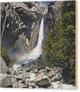 Yosemite Falls Rainbow Wood Print by Jane Rix