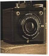 You Push The Button We Do The Rest Kodak Brownie Vintage Camera Wood Print by Edward Fielding