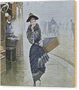 Young Parisian Hatmaker Wood Print by Jean Beraud