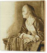 Young Woman On A Balcony Sepia Wood Print by Joyce Geleynse