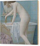 Young Woman Preparing Her Bath  Wood Print by Jules Scalbert