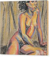 Young Woman Resting And Contemplating Wood Print by Asha Carolyn Young