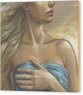 Young Woman With Blue Drape Crop Wood Print by Zorina Baldescu