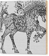 Zentangle Circus Horse Wood Print by Jani Freimann
