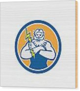 Zeus Greek God Arms Cross Thunderbollt Circle Retro Wood Print by Aloysius Patrimonio